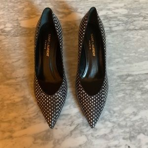 Saint Laurent Black & White Kitten 50 Pump